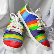 Обувь ручной работы. Ярмарка Мастеров - ручная работа Кеды женские летние дизайнерские с рисунком разноцветные радуга. Handmade.