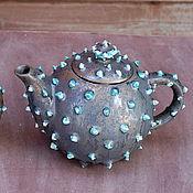 """Посуда ручной работы. Ярмарка Мастеров - ручная работа """"Бирюза и бронза.""""Заварочный чайник и сахарница.. Handmade."""