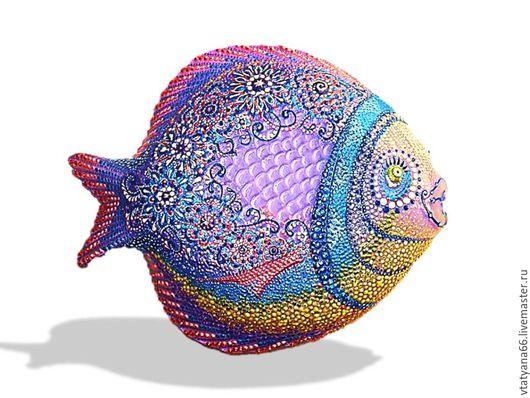 Животные ручной работы. Ярмарка Мастеров - ручная работа. Купить Тарелка декоративная Прованская рыба. Handmade. Точечная роспись, сиреневый