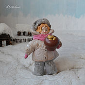 Подарки к праздникам ручной работы. Ярмарка Мастеров - ручная работа Ватная елочная игрушка ГРИШАНЯ с горшочком картошки. Handmade.