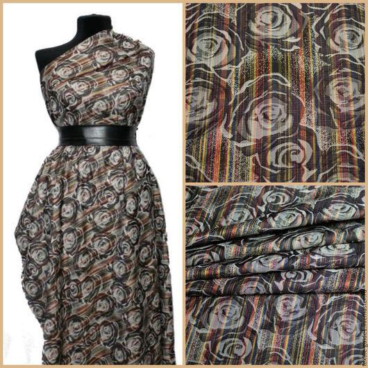 11094686. Ткань плотная, приятная к телу и на ощупь. Принт жаккарда - разноцветные полосы и серые цветы.
