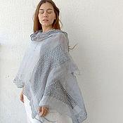 Аксессуары handmade. Livemaster - original item Summer linen steel stole with decor and knitted border. Handmade.