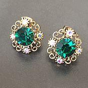 Материалы для творчества handmade. Livemaster - original item Jewelry poussettes art. 4-10A with emerald crystal. Handmade.