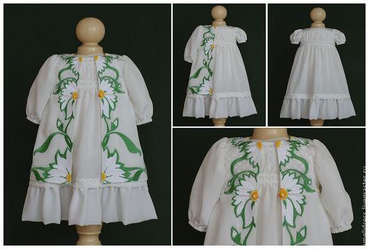 Одежда для девочек, ручной работы. Ярмарка Мастеров - ручная работа. Купить Платье  с ромашками. Handmade. Зеленый, цветочный, модерн, ромашки