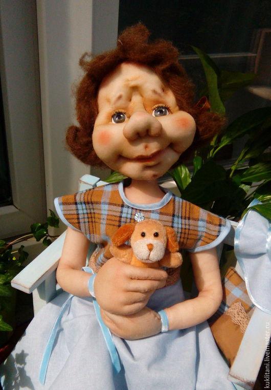 Коллекционные куклы ручной работы. Ярмарка Мастеров - ручная работа. Купить Голубая шляпка. Handmade. Голубой, лето, дерево