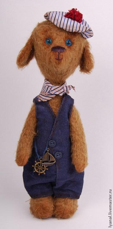 купить мишку тедди собака тедди, собачка -друг мишки тедди, мишка тедди в подарок, авторская собачка  тедди `Генри`, автор Яна ленгина (Yana Lengina) мишки тедди ,тедди мишка, собачка, моряк, пё