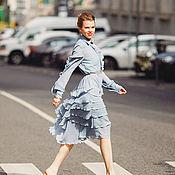 Одежда ручной работы. Ярмарка Мастеров - ручная работа Небесное платье с воланами. Handmade.