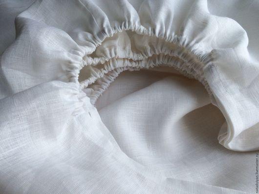 Текстиль, ковры ручной работы. Ярмарка Мастеров - ручная работа. Купить Простыня  льняная  2 СП на резинке без швов. Handmade.