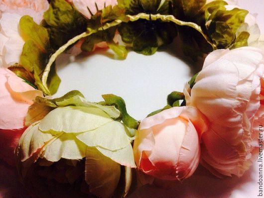 Диадемы, обручи ручной работы. Ярмарка Мастеров - ручная работа. Купить Венок из цветов на голову. Handmade. Кремовый, пион из ткани