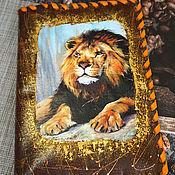 handmade. Livemaster - original item Leather-bound notebook Lion.. Handmade.