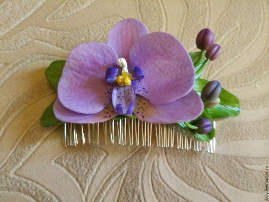 Заколки ручной работы. Ярмарка Мастеров - ручная работа. Купить Гребень с цветком орхидеи. Handmade. Гребень для волос, подарок
