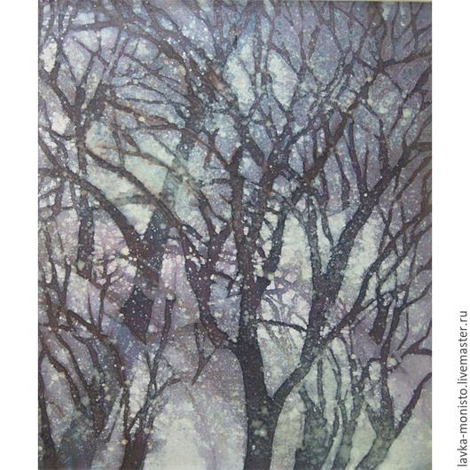 Пейзаж ручной работы. Ярмарка Мастеров - ручная работа. Купить Картина Снегопад, на х/б ткани в технике горячего батика. Handmade.