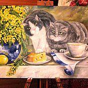 Картины и панно ручной работы. Ярмарка Мастеров - ручная работа Кошачье чаепитие. Handmade.