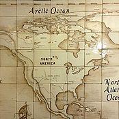 Картины и панно handmade. Livemaster - original item Ceramic panel Map of the world. Handmade.