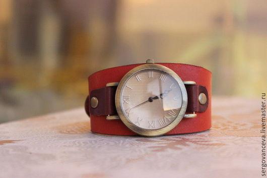 """Часы ручной работы. Ярмарка Мастеров - ручная работа. Купить Часы """"Кирпичные"""". Handmade. Коричневый, часы ручной работы, кирпичный"""