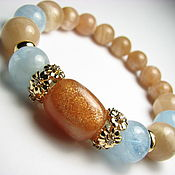 Украшения handmade. Livemaster - original item Bracelet aquamarine and Sunstone