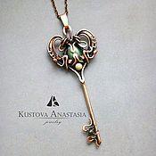 """Украшения ручной работы. Ярмарка Мастеров - ручная работа Кулон wire wrap """"Key to the heart"""" из меди. Handmade."""