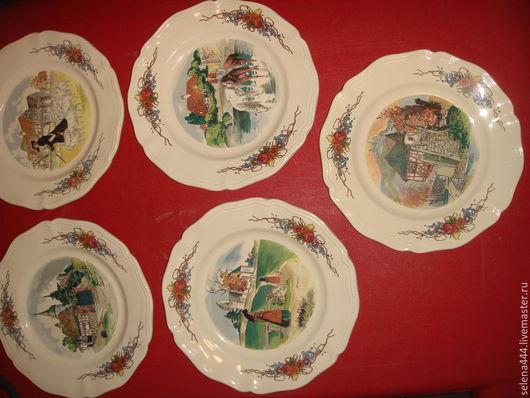 Винтажная посуда. Ярмарка Мастеров - ручная работа. Купить Панно-тарелочки Франция Мануфактура OBERNAL. Handmade. Разноцветный