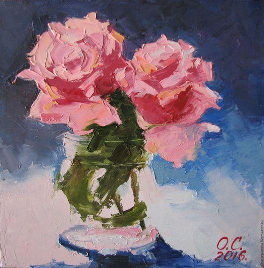 """Картины цветов ручной работы. Ярмарка Мастеров - ручная работа. Купить """"Розы"""", холст, масло. Handmade. Коралловый, цветы"""