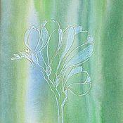 Картины и панно ручной работы. Ярмарка Мастеров - ручная работа Мини картина акварелью Нежный цветок фрезии. Handmade.