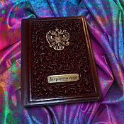 """Канцелярские товары handmade. Livemaster - original item Обложка на паспорт """"Ваше величество"""" из натуральной коричневой кожи. Handmade."""