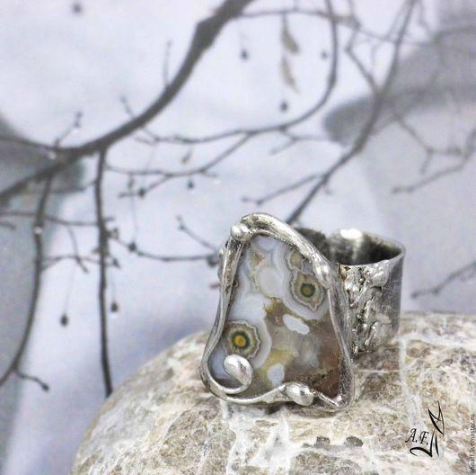"""Кольца ручной работы. Ярмарка Мастеров - ручная работа. Купить """"Туман"""" - кольцо с природным агатом. Handmade. Серый, безразмерное кольцо"""