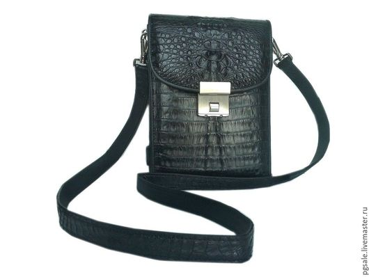 Сумка из кожи крокодила. Кожа крокодила. Мужская сумка. Сумка-портфель. Портфель из крокодила. Купить сумку. Чёрная сумка. Сумка через плечо.. Подарок мужчине.