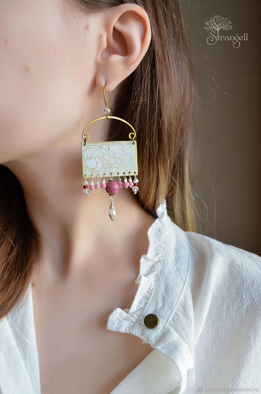 Grandes pendientes Boho con perlas y Rodonita pendientes Rectangulares flores, Earrings, Ulan-Ude,  Фото №1