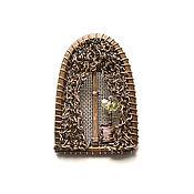 Украшения handmade. Livemaster - original item Brooch Window. Small brooch wire wrap. Copper, Swarovski flower. Handmade.
