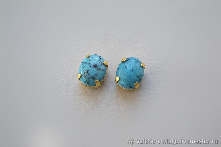 Vintage rhinestones 10h8mm. color Turquoise matrix, Rhinestones, Moscow,  Фото №1
