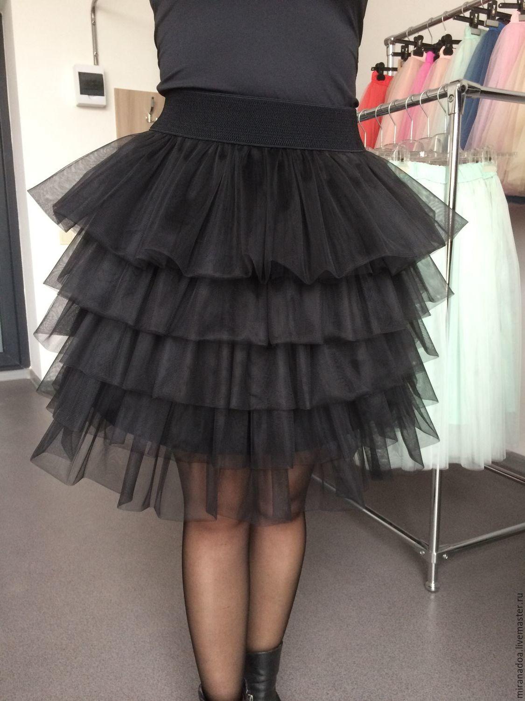 Купить Нарядная юбка пачка миди с воланами черного цвета - черный, юбка, юбка миди
