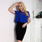 Одежда handmade. Livemaster - original item Blouse elegant, blouse blue with lace. Handmade.