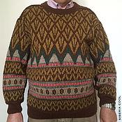 Одежда handmade. Livemaster - original item Sweater mens Norwegian pattern, 58 size, ornament, jacquard, wool. Handmade.
