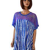 Одежда handmade. Livemaster - original item Summer dress tunic made of knitwear and lace blue stripe. Handmade.