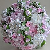 Свадебный салон handmade. Livemaster - original item Svadebnyj Bouquet from polymer clay with peonies. Handmade.