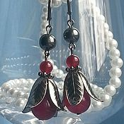 Украшения handmade. Livemaster - original item Earrings bells, jade and hematite. Handmade.