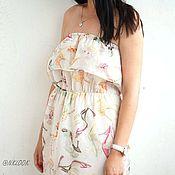 Одежда ручной работы. Ярмарка Мастеров - ручная работа Летний сарафан с воланом светлый. Handmade.