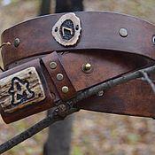 Аксессуары handmade. Livemaster - original item strap made of Buffalo leather with runes. Handmade.