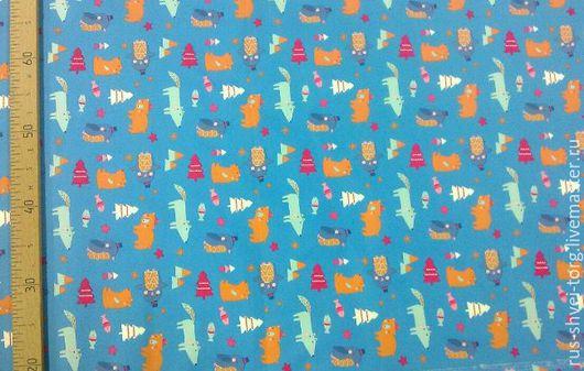 Ткань курточная 240T PONGEE WR PU MILKY. Рисунок `Пингвины-волки на голубом`