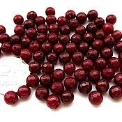 Материалы для творчества ручной работы. Ярмарка Мастеров - ручная работа Агат вишневый бусины с огранкой 6 мм бордовый красный мелкие. Handmade.