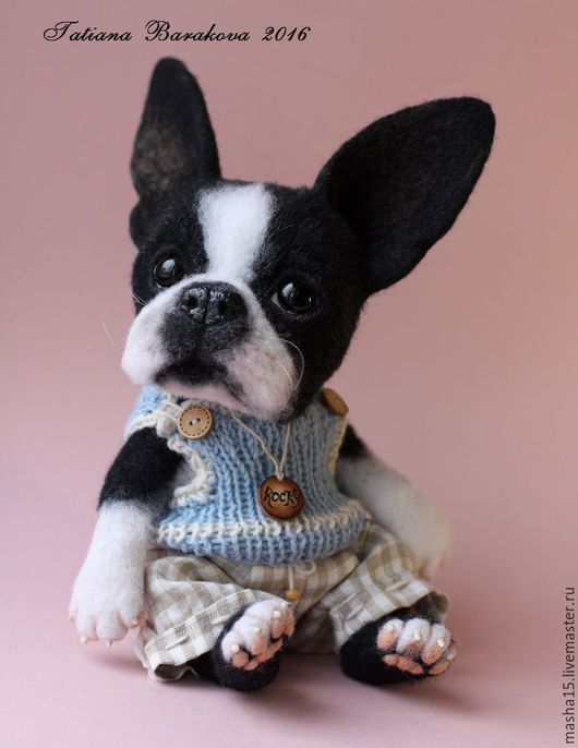 """Куклы и игрушки ручной работы. Ярмарка Мастеров - ручная работа. Купить Валяный щенок Бостон-терьер """"Rocky"""". Handmade."""