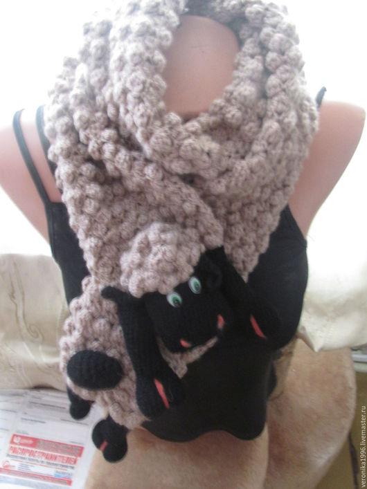 Шарфы и шарфики ручной работы. Ярмарка Мастеров - ручная работа. Купить шарф овечка. Handmade. Серый, работы для детей, холлофайбер