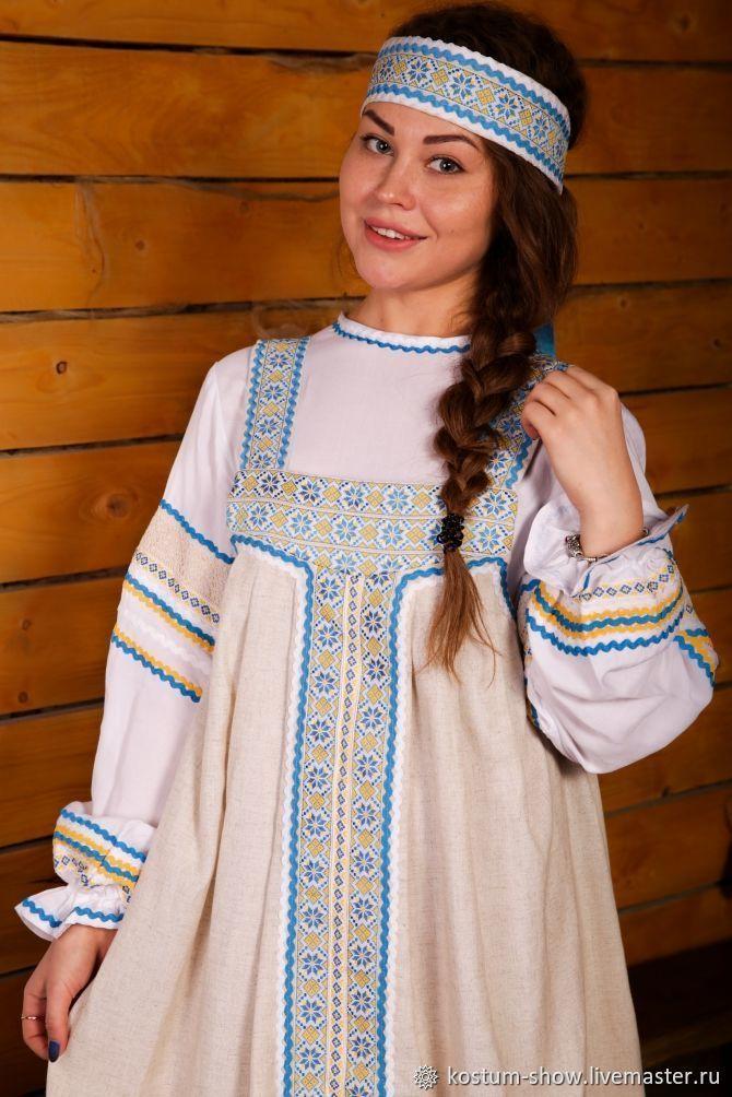 Сарафан, очелье, длинная рубаха арт.1212, Народные костюмы, Москва,  Фото №1