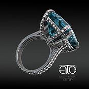 Украшения handmade. Livemaster - original item Luxurious ring with Topaz London Blue 23.50 Carat, CZ. Solid silver.. Handmade.
