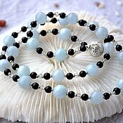 Украшения handmade. Livemaster - original item This delicate necklace from aquamarine and shungit