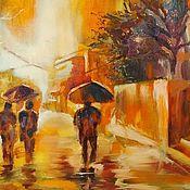 Pictures handmade. Livemaster - original item Oil painting Rainy autumn cityscape on canvas. Handmade.