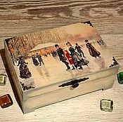 """Для дома и интерьера ручной работы. Ярмарка Мастеров - ручная работа Шкатулка """"На катке"""", шкатулка для украшений. Handmade."""
