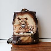 Сумки и аксессуары handmade. Livemaster - original item Backpack leather with painting to order for Eugenia.. Handmade.