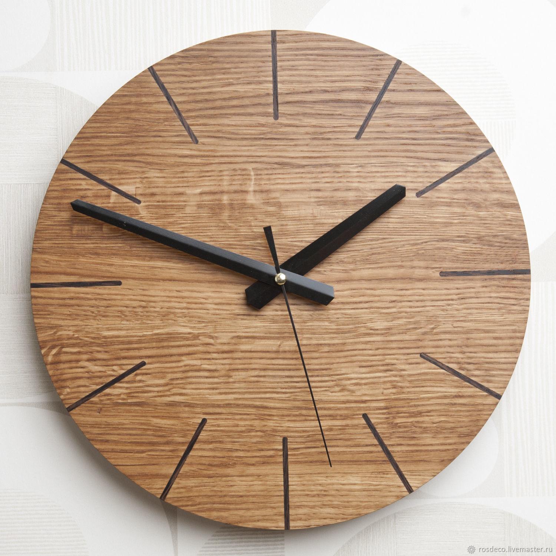 Настенные часы круглые из дуба №44, Часы классические, Раменское,  Фото №1