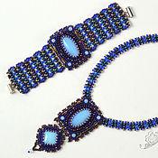 Украшения handmade. Livemaster - original item Set of beads and netting superduo Space dark blue light blue. Handmade.